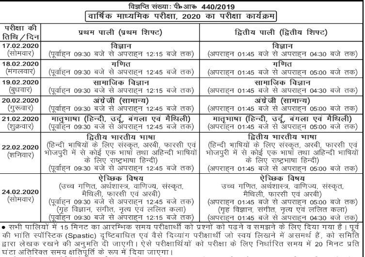 bseb 10th time table hindi