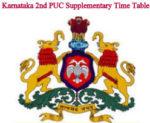Karnataka 2nd PUC Supplementary Time Table