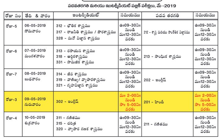 aposs 10th inter timetable